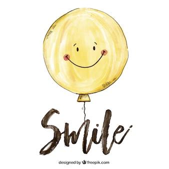 Tło uśmiecha balonu w stylu akwareli