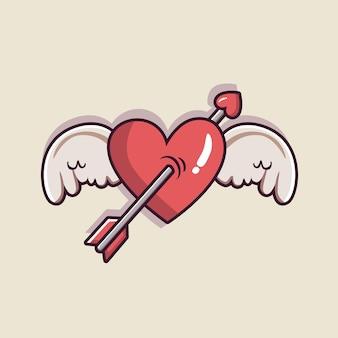 Tło valentine's z serca i skrzydła