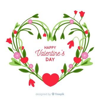 Tło valentine wieniec kwiatowy