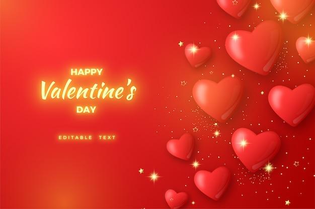 Tło valentine z czerwonymi balonami i świecące żółte litery