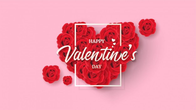 Tło valentine z ilustracjami róż tworzących miłość ze słowami na nim.