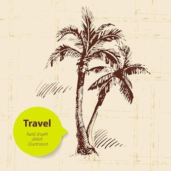 Tło vintage podróży z palmami. ręcznie rysowane ilustracja