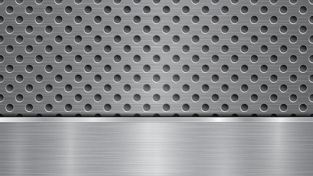 Tło w kolorze srebrnym i szarym, składające się z perforowanej metalicznej powierzchni z otworami i jednej poziomej polerowanej płyty znajdującej się poniżej, o metalowej fakturze, odblaskach i błyszczących krawędziach