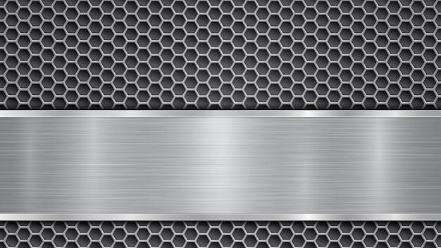 Tło w kolorze szarym, składające się z metalicznej perforowanej powierzchni z otworami i polerowanej płytki z metalową fakturą, odblaskami i błyszczącymi krawędziami