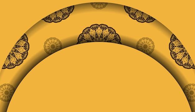 Tło w kolorze żółtym z greckim brązowym wzorem do projektowania pod tekstem