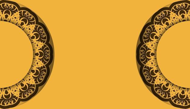 Tło w kolorze żółtym z rocznika brązowym ornamentem do projektowania pod tekstem