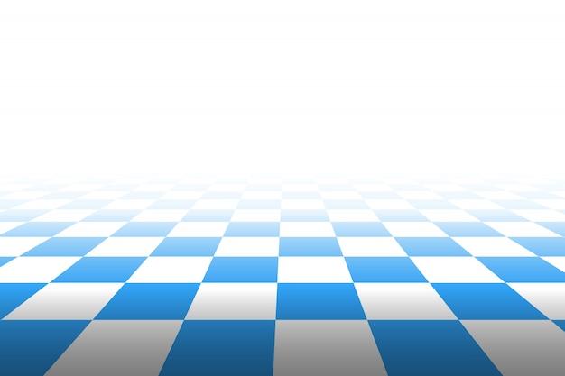 Tło w kratkę w perspektywie. kwadraty - niebieskie i białe. ilustracja.