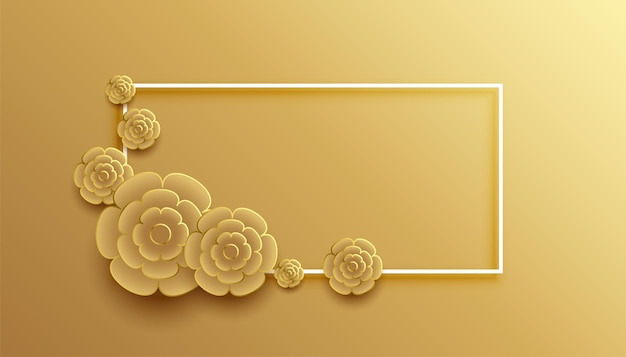 Tło w stylu 3d złotego kwiatu ramki