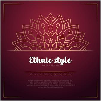 Tło w stylu etnicznym z szablonem mandali i tekst