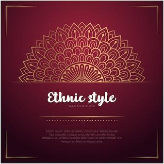 Tło w stylu etnicznym z szablonu mandali i tekst, czerwony i złoty kolor