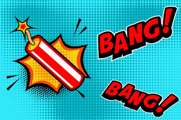 Tło w stylu komiksu z eksplozją kija dynamitu. element na baner, plakat, ulotkę. wizerunek