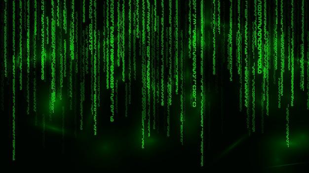 Tło w stylu macierzy. spadające liczby losowe. zielony jest kolorem dominującym.