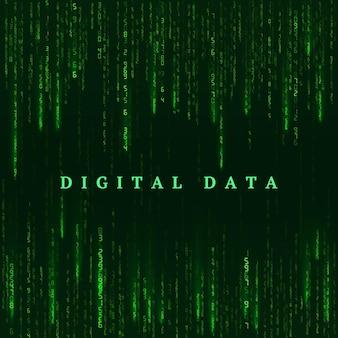 Tło w stylu matrix. cyfrowa wizualizacja rzeczywistości wirtualnej. zielone liczby losowe. sci fi lub futurystyczne tło. zakodowane dane. ilustracja wektorowa