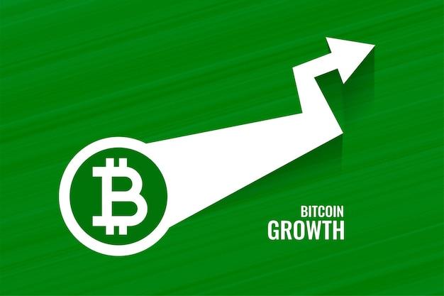 Tło w stylu zielonej strzałki wzrostu bitcoin