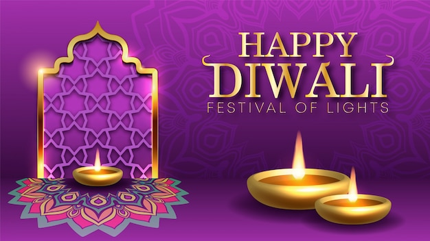 Tło wakacje diwali na lekki festiwal indii