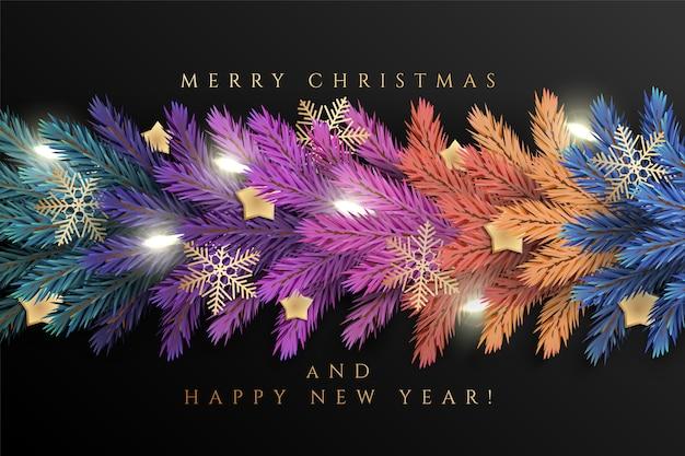 Tło wakacje dla karty z pozdrowieniami wesołych świąt z realistycznymi kolorowymi gałęziami sosnowej girlandy, ozdobionymi świątecznymi lampkami, złotymi gwiazdami, płatkami śniegu