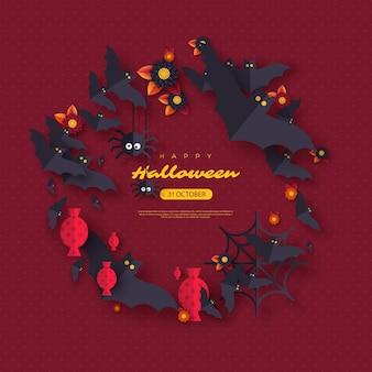 Tło wakacje halloween. latające nietoperze, cukierki, kwiaty i pająki. fioletowy kolor tła z tekstem powitania, ilustracji wektorowych.