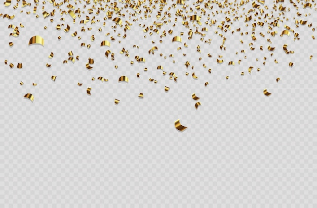 Tło wakacje konfetti i złote wstążki. latające elementy świecidełka, tekstura złotej folii serpentynowe serpentyny konfetti objętych imprezą. luksusowa karta okolicznościowa bogata. ilustracja