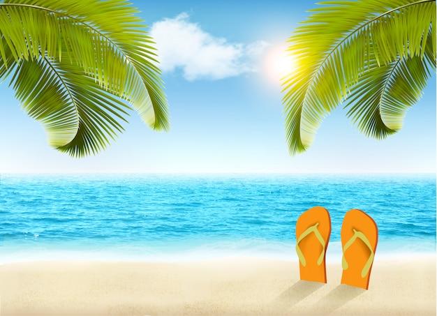 Tło wakacje. plaża z palmami i błękitnym morzem.