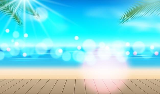 Tło wakacje. plaża z palmami i błękitnym morzem