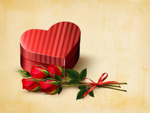 Tło wakacje walentynki. czerwone róże z czerwonym pudełkiem w kształcie serca. ilustracja wektorowa.