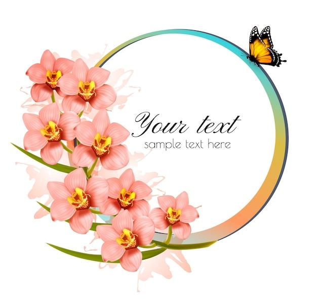 Tło wakacje z kwiatami piękna i motyl. wektor