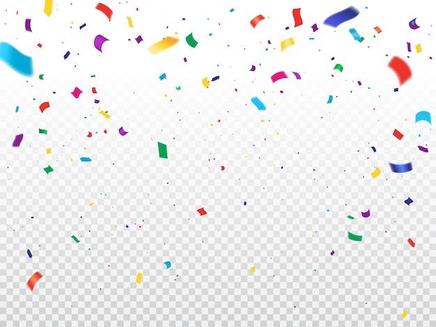 Tło wakacje z latającymi konfetti