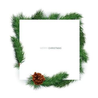 Tło wakacje zima. pusta biała karta z gałęzi choinki i ozdoby na białym tle.