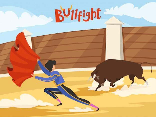 Tło walki byków. tradycyjny występ hiszpanii z matadorem i bykiem. taniec śmierci