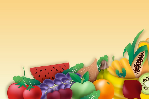 Tło warzywa i owoce