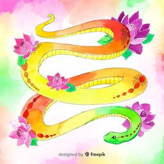 Tło wąż akwarela wyciągnąć rękę