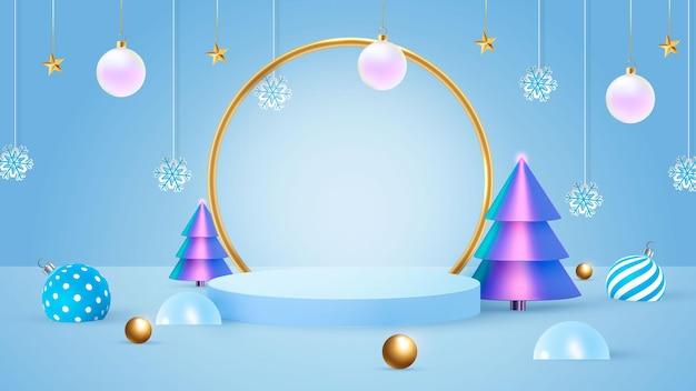 Tło wektor 3d niebieski rendering z podium i minimalną sceną nowego roku, minimalne tło wyświetlania produktu 3d render o geometrycznym kształcie. ilustracja wektorowa
