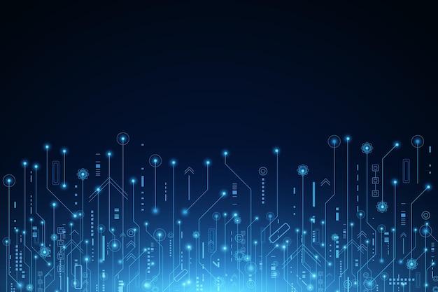 Tło wektor futurystyczna technologia, elektroniczna płyta główna, koncepcja komunikacji i inżynierii