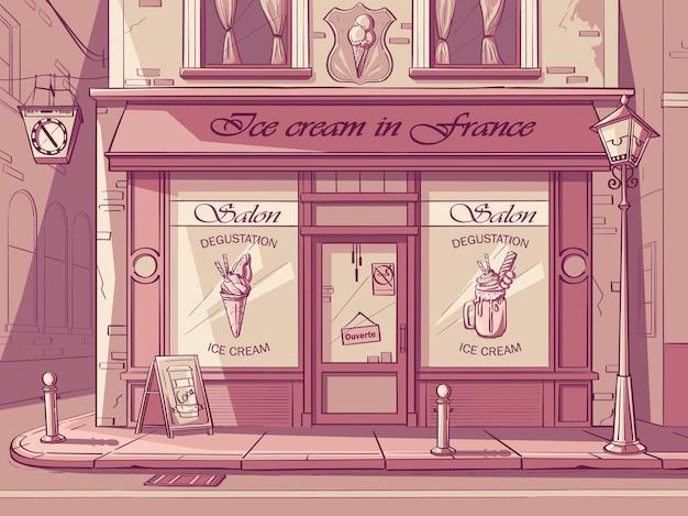 Tło wektor lodziarnia. obraz kawiarni frozen yogurt w różowych kolorach.