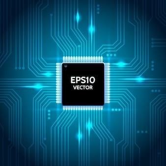 Tło wektor płytki drukowanej. procesor i chip, inżynieria i technologia, projektowanie płyt głównych i komputerów