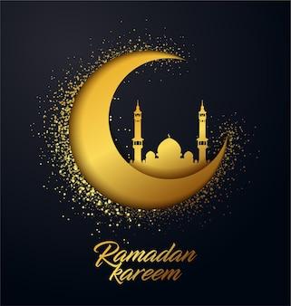 Tło wektor ramadan kareem wykonane z błyszczących małych złotych kropek w sprayu i efekt cięcia papieru.