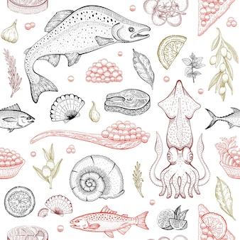 Tło wektor ryby owoce morza