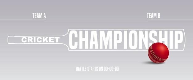 Tło wektor sport krykieta. poziomy baner szablonu z piłką do krykieta i nietoperzem oraz tekstem dla zespołów