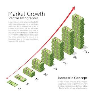 Tło wektor wzrostu rynku z rachunków walutowych wykresu i dolara. izometryczna koncepcja bankowości i finansów. ilustracyjny dolarowy finansowy wzrostowy pojęcie