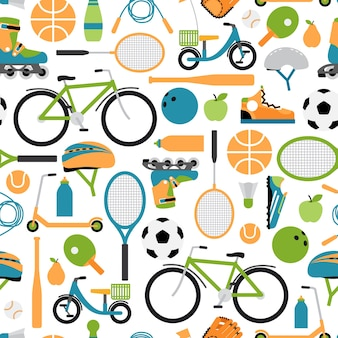 Tło wektor zdrowy sport wzór. wzór, rolki i kask, piłka i lotki, kręgle i tenis i baseball