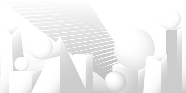 Tło wektorowe białoszarych kształtów geometrycznych z wypełnieniem gradientowym