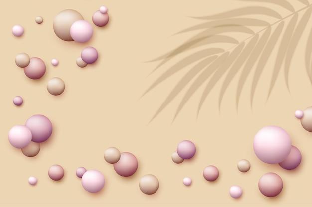 Tło wektorowe z realistycznymi kulkami 3d okrągła kula w perłowych pastelowych kolorach na beżowym tle puder kulki podkład rumieniec streszczenie szablon do reklamy w mediach społecznościowych okładka kosmetyczna
