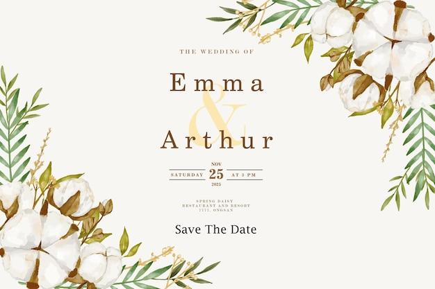 Tło wesele akwarela kwiat bawełny