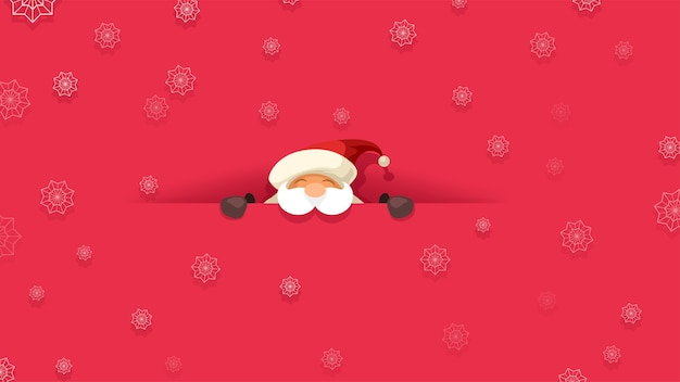 Tło wesoły święty mikołaj patrząc z przodu przez cięcie na czerwonym tle z płatkami śniegu