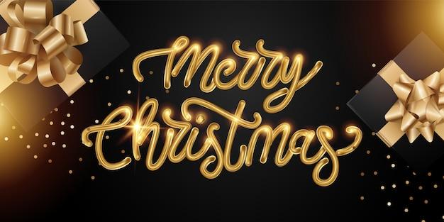 Tło wesołych świąt z kaligraficznym złotym napisem.