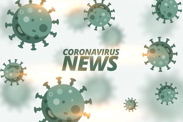 Tło wiadomości coronavirus z pływającymi komórkami wirusa