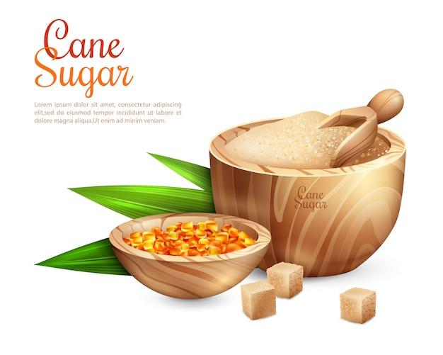 Tło wiadro cukru trzcinowego