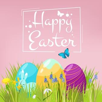 Tło wielkanoc. jaja na trawie z wiosennych kwiatów uroczysty zestaw wesołych świąt.