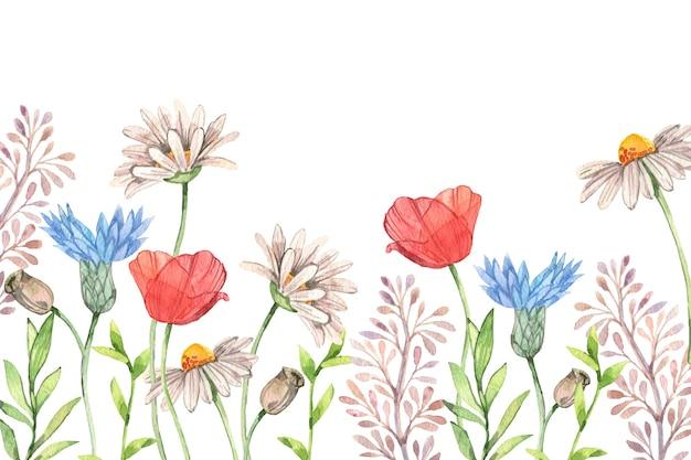 Tło wiosna akwarela z kwiatami