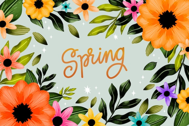 Tło wiosna akwarela